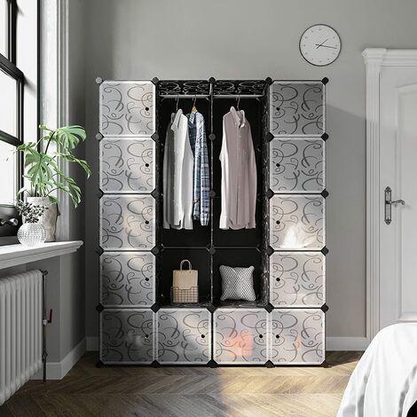 Armoire Penderie Placard 20 Cubes Modulaire Étagères Plastique Meuble de Rangement de Vêtements&Chaussures Avec Portes Noir