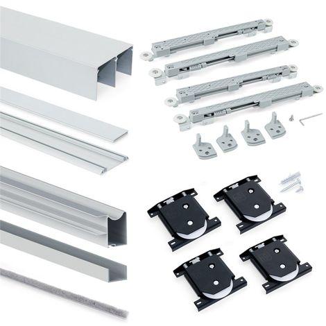 Armoire Placard Emuca 2 portes avec profils Wave18 et fermeture amortie