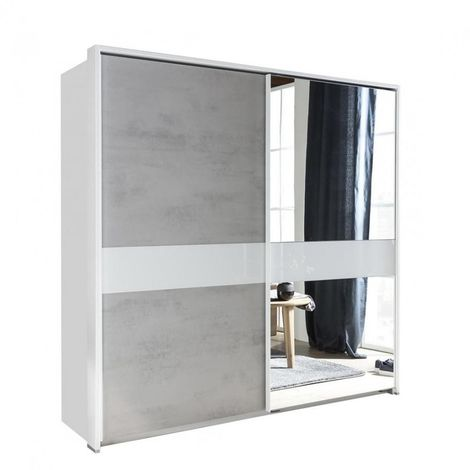 Armoire portes coulissantes COMBER 179 cm blanc / gris