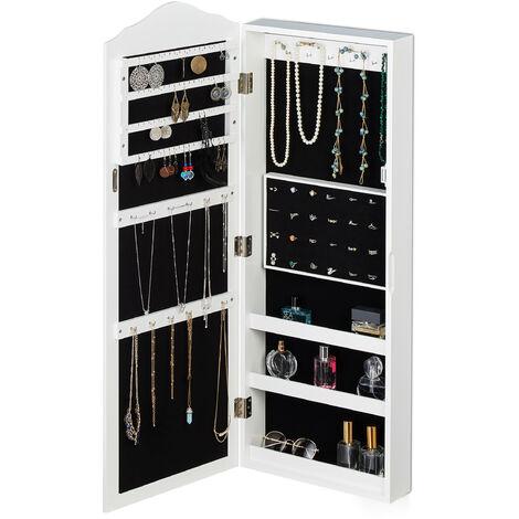 Armoire pour bijoux, miroir, fermeture magnétique, montage mural, suspendu, miroir bijoux, HlP 96,5x35x9.5 cm,