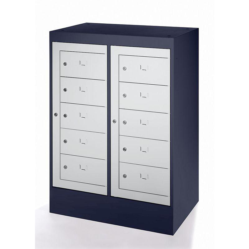 Certeo - Armoire pour ordinateurs portables - 10 compartiments, h x l 1115 x 782 mm - gris noir / gris clair - Coloris corps: noir