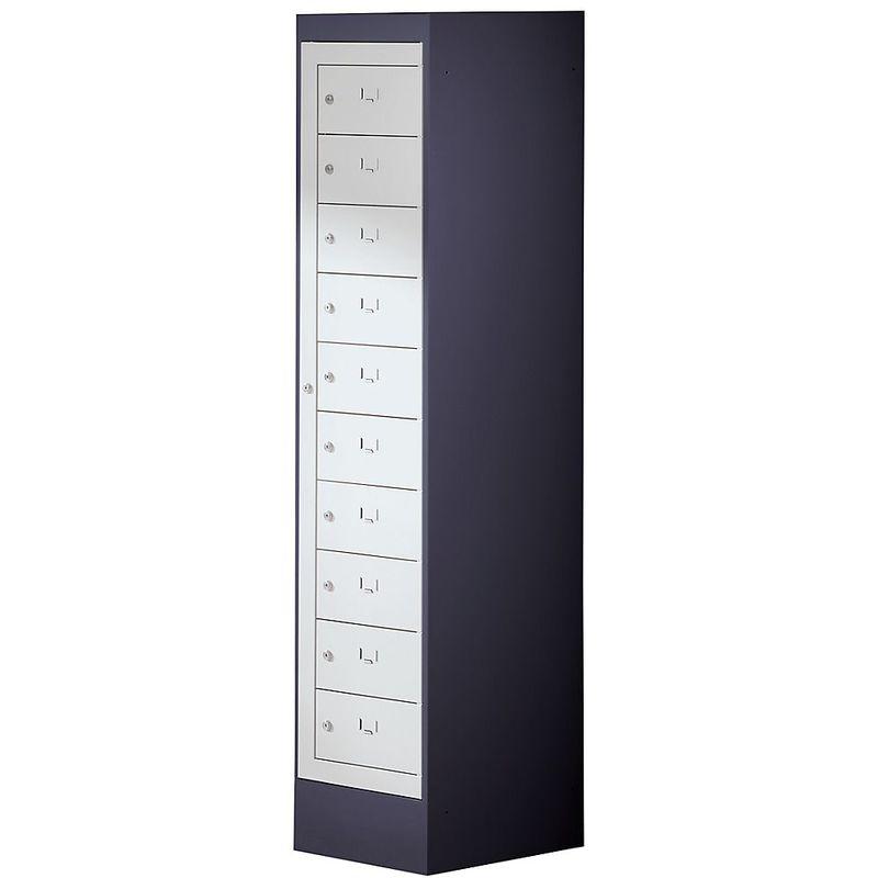 Certeo - Armoire pour ordinateurs portables - 10 compartiments, h x l 1900 x 400 mm - gris noir / gris clair - Coloris corps: noir