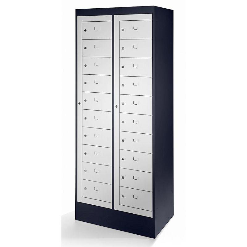 Certeo - Armoire pour ordinateurs portables - 20 compartiments - gris noir / gris clair - Coloris corps: noir