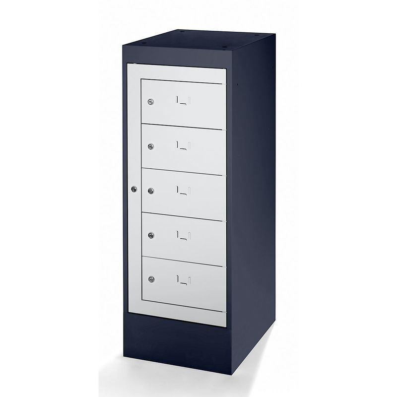 Armoire pour ordinateurs portables - 5 compartiments - gris noir / gris clair - Coloris corps: noir