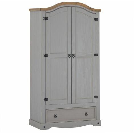 Armoire RAMON penderie pour vêtements en pin massif gris et brun avec 2 portes et 1 tiroir, meuble de chambre style mexicain en bois