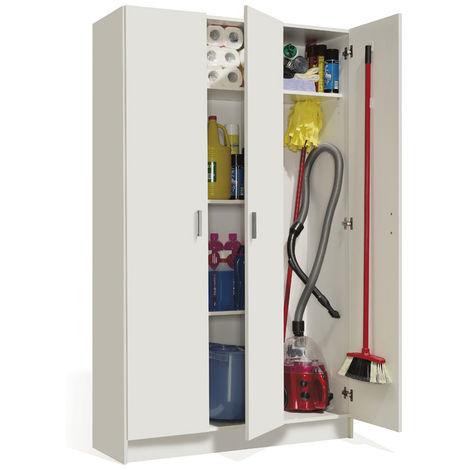 """main image of """"Armoire rangement nettoyage 3 portes en mélamine coloris blanc - Dim : H180 x L108,8 x P37 cm -PEGANE-"""""""