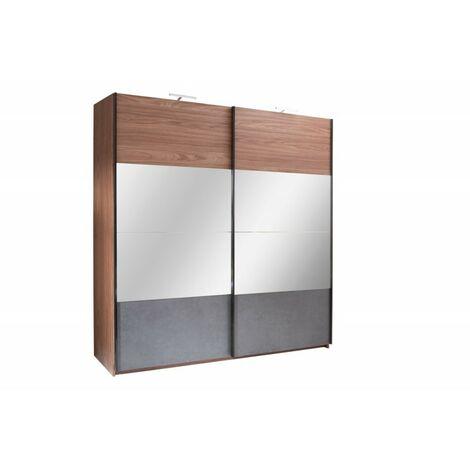 Armoire RENATO 2 portes coulissantes avec miroirs, garde robe pour chambre à coucher, dressing, penderie couleur walnut et grise - Gris