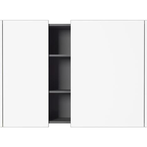 Armoire suspendue coloris Blanc/Graphite - Dim : 103 x 75 x 30 cm -PEGANE-