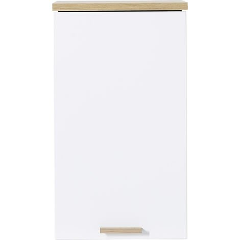 Armoire suspendue de salle de bain coloris blanc / chêne-Navarra repro - Dim : 39 x 69 x 28 cm -PEGANE-