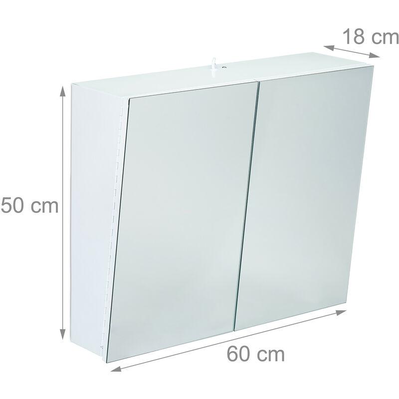 Relaxdays Armoire Toilette Miroir 2 Portes Meuble Salle de ...