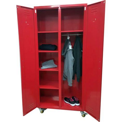 Armoire Vestiaire Metallique Rouge Style Industriel avec roues