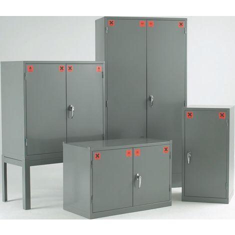 Armoires COSHH, Acier Gris, verrouillable, 1 porte, 1 étagère, 457mm x 457mm x 305mm