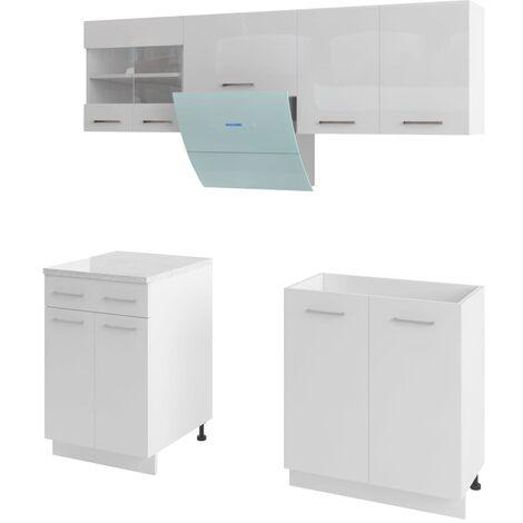 Armoires de cuisine 5 pcs avec hotte Blanc brillant
