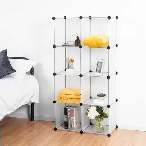 Armoires tag res plastique meuble de rangement modulable 8 cubes armoire biblioth que etag res - Meuble rangement modulable ...