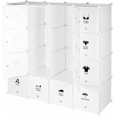Armoires Etagères Plastiques - Penderie Plastiques, Meuble Rangement 16 Cubes Modulables + 1 Tige de suspension, Blanc