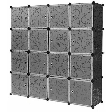 Armoires Etagères Plastiques - Penderie Plastiques, Meuble Rangement 16 Cubes Modulables + 1 Tige de suspension, Transparent