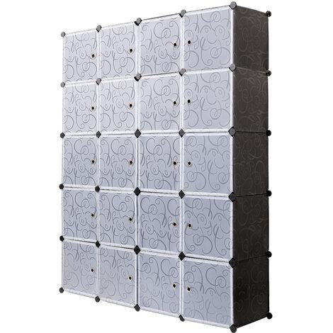 Armoires Etagères Plastiques - Penderie Plastiques - Meuble Rangement 20 Cubes - 184cm*37cm*147cm