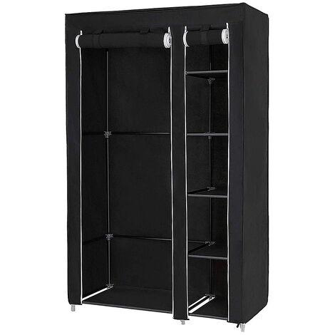 Armoires penderie etagere tissu noir entree chambre camping 172*105*43cm