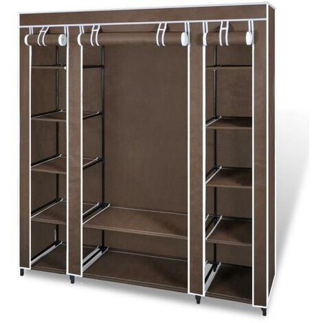 Armoires penderie étagère tissu non-tissé marron hauteur 180 cm entrée chambre camping - Marron