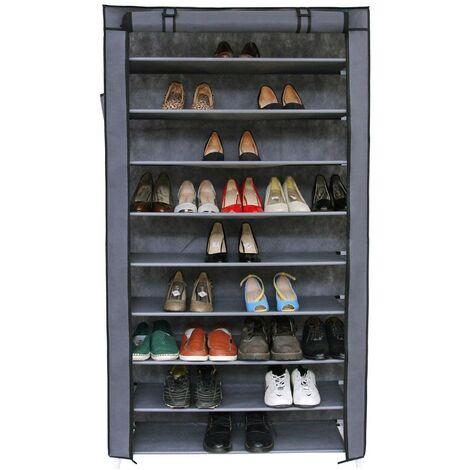 Armoires Penderie Tissu Meuble De Rangement Chaussure Gris