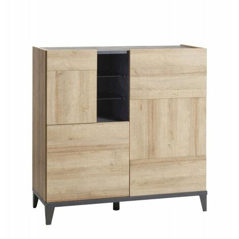 Armoirette avec porte en bois gris et beige - VALENTINA - Bois