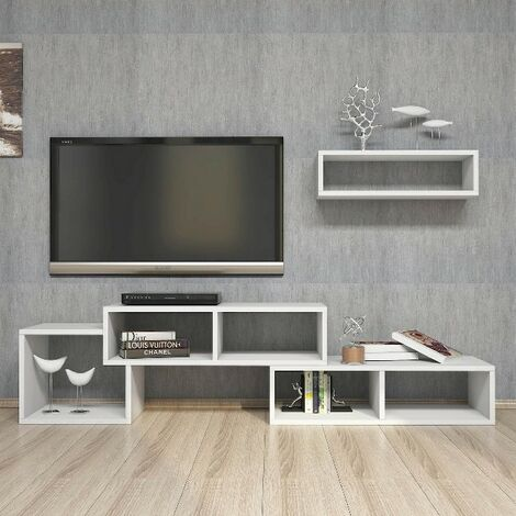 Armonia TV Stand - with Doors, Shelves - for Living Room - White, made in Wood, 169,5 x 35 x 41,8 cm
