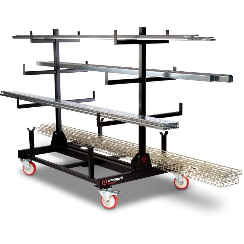 Image of Armorgard PipeRack Mobile Pipe Storage Rack Trolley 1-Tonne 1000x1500x1560mm