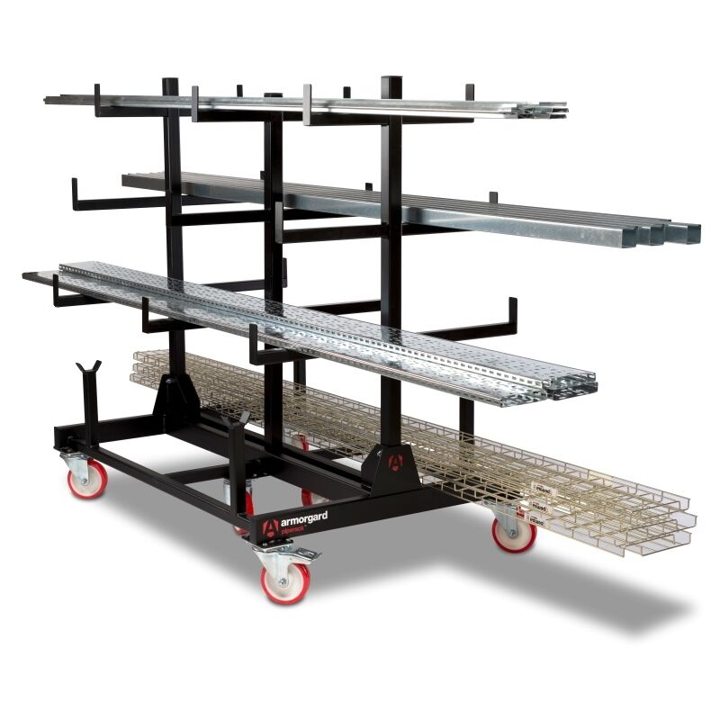 Image of Armorgard PipeRack Mobile Pipe Storage Rack Trolley 2-Tonne 1000x1500x1560mm