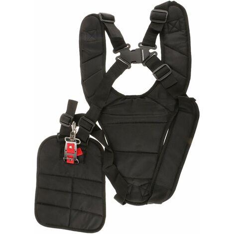 Arnés LITZEE con correa para el hombro con doble acolchado Tirantes de seguridad para botones para desbrozadora, recortadora y recortadora, abotonado de seguridad acolchado para hombros, negro