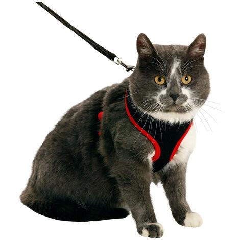 Arnés para gatos negro y rojo, talla M, ajustable.
