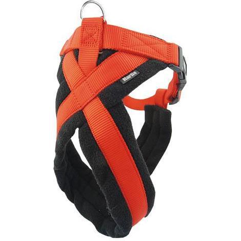 Arnés para perros Cross Color Rojo con ajuste perfecto mediante el cruce superior central disponible en varias tallas.