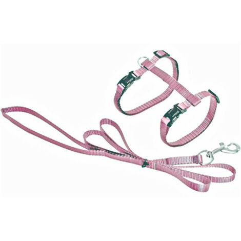 Arnés y correa de 1,10 metros para los gatos. Color rosa claro.