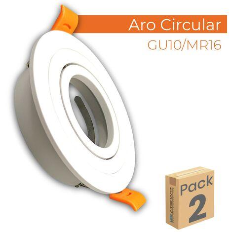 Aro de Aluminio circular para bombilla GU10/Dicroica basculante   Pack 10 Uds. - Pack 10 Uds.