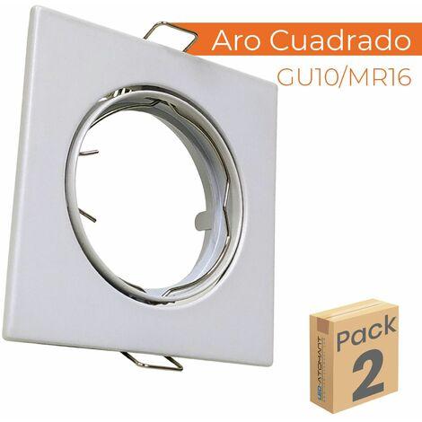 Aro de Aluminio Cuadrado para bombilla GU10/Dicroica Corte 72mm basculante | Pack 10 Uds. - Pack 10 Uds.