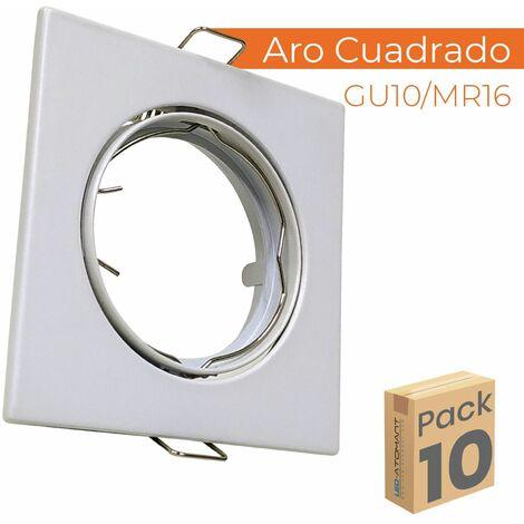 "main image of ""Aro de Aluminio Cuadrado para bombilla GU10/Dicroica Corte 72mm basculante | Pack 2 Uds. - Pack 2 Uds."""