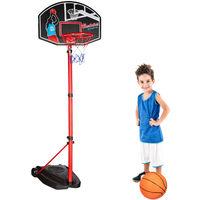 aro de baloncesto con soporte, H max. 240 cm, incluye set pelota e inflador, rojo-negro