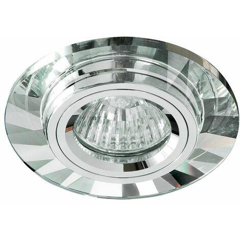 Aro de empotrar redondo fijo cristal aluminio Ip20,Gu10, apto para LED