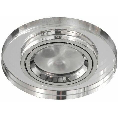 Aro de empotrar redondo fijo cristal espejo Ip20,Gu10, apto para LED