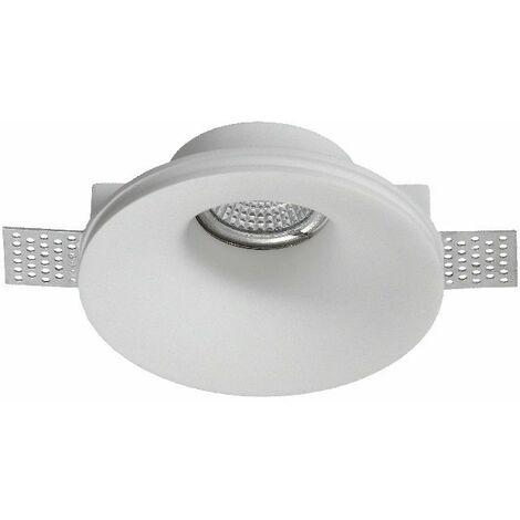 Aro de empotrar redondo fijo escayola blanca Ip20,Gu10, apto para LED