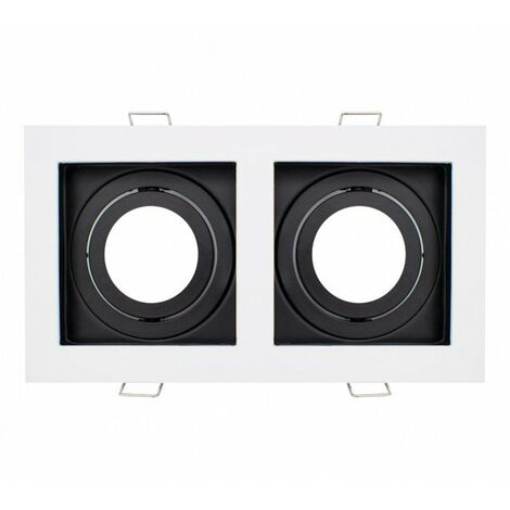 Aro Doble Basculante Cuadrado Blanco y Negro para GU10/MR16 Blanco,Negro | IluminaShop