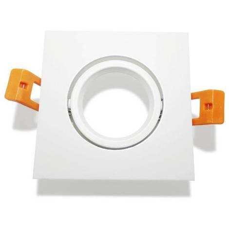 Aro downlight cuadrado empotrable basculante blanco para GU10 / GU5.3 | Blanco