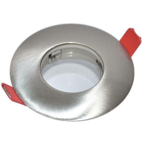 Aro downlight empotrable fijo estanco IP54 Ø83MM níquel para GU10 / MR16
