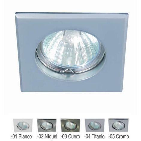 Aro empotrable cuadrado fijo BLANCO 75 mm para bombilla LED CONALUX 4005-01