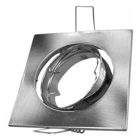 Aro empotrable cuadrado orientable níquel satín para bombilla LED GU10 GSC 0700663