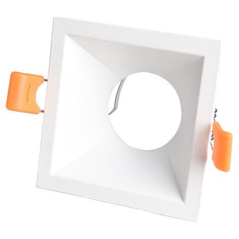 Aro empotrable de aluminio cuadrado blanco modelo Living 81x41mm. (Cristal Record 00-176-01-000)