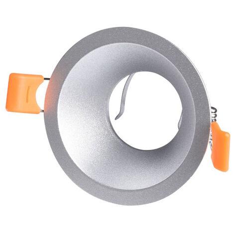 Aro empotrable de aluminio redondo plata modelo Living 81x41mm. (Cristal Record 01-076-01-281)