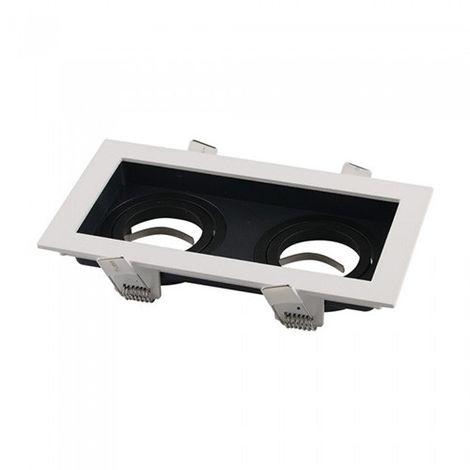 Aro empotrable doble para bombilla LED cuadrado basculante negro y blanco