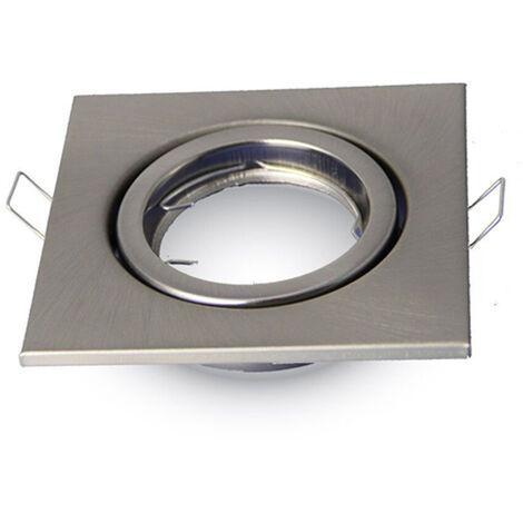 Aro empotrable ECO para bombilla cuadrado basculante metalizado