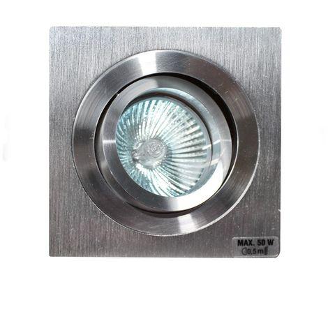 Aro empotrable GU10 50W cuadrado basculante acero CRISTALRECORD 1339002584