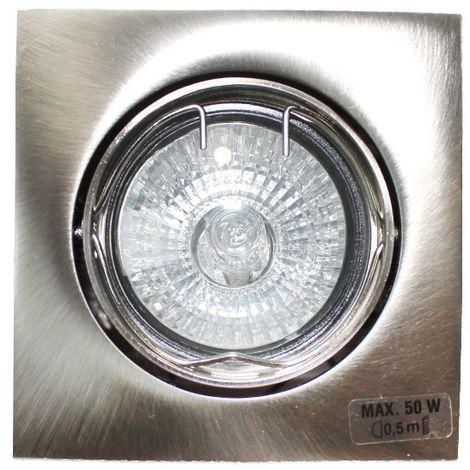 Aro empotrable GU10 50W cuadrado basculante níquel CRISTALRECORD 1339002212